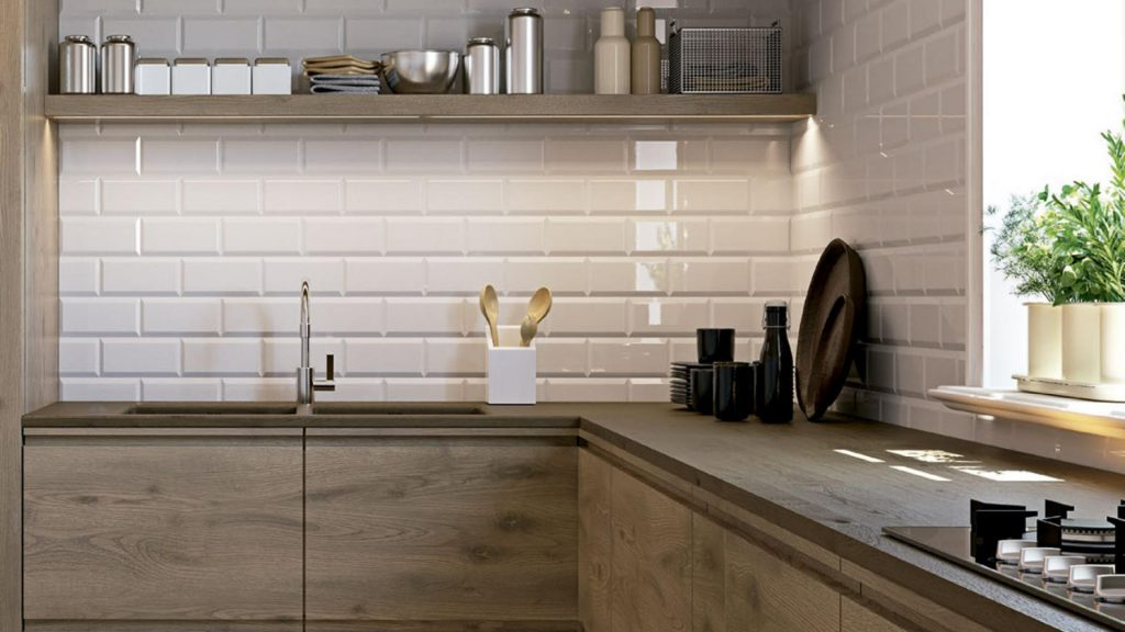 Bisel Brillo White Kitchen Wall Tiles