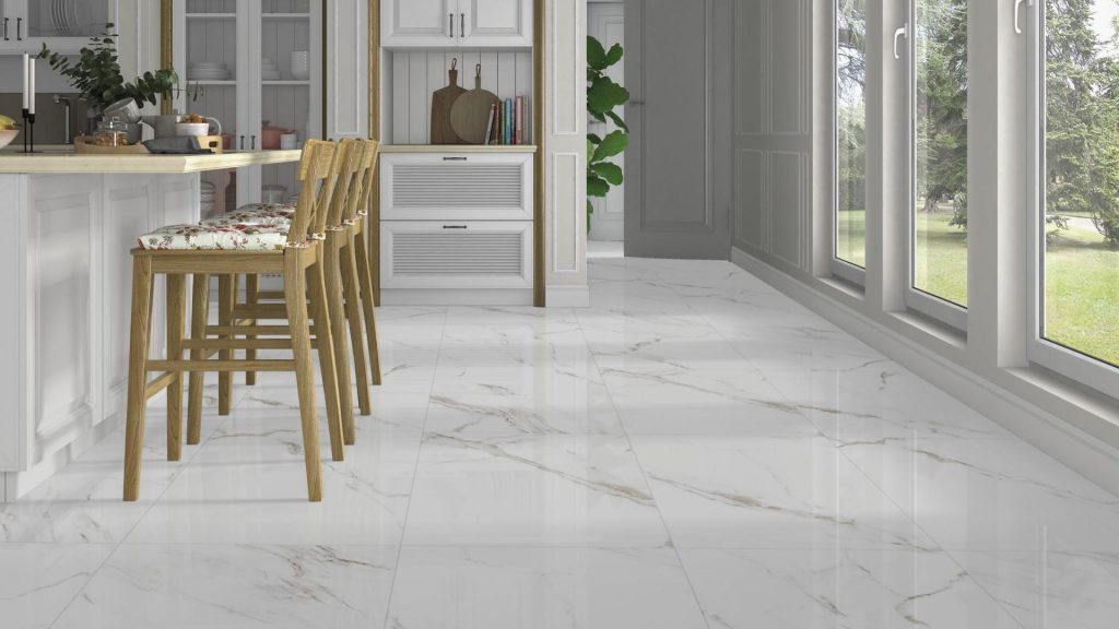 White Marble Effect Calacatta Glossy Floor Tile