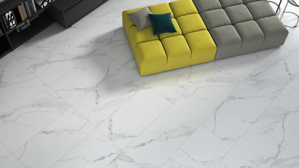 White Marble Effect Calacatta Matt Floor Tile