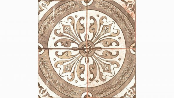 A close up of an old vintage style effect wall and floor tile with a Moroccan style print.
