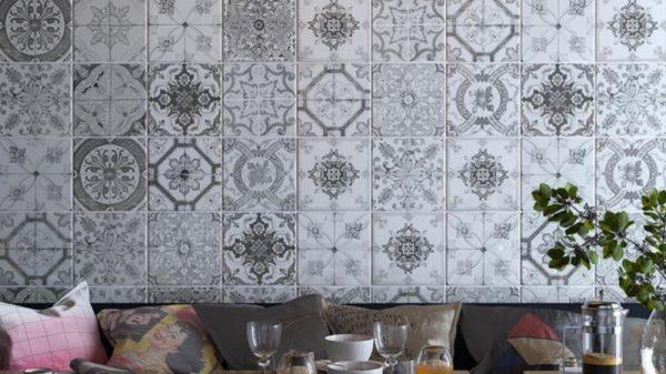 Nikea Sephia Glossy Patterned Wall & Floor Tiles 20x20cm